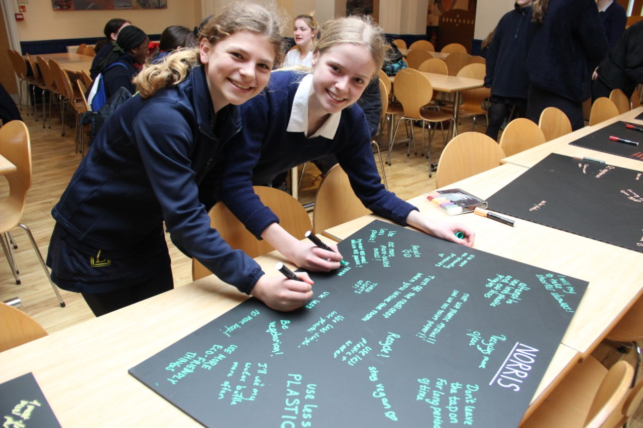 Girls signing pledge boards