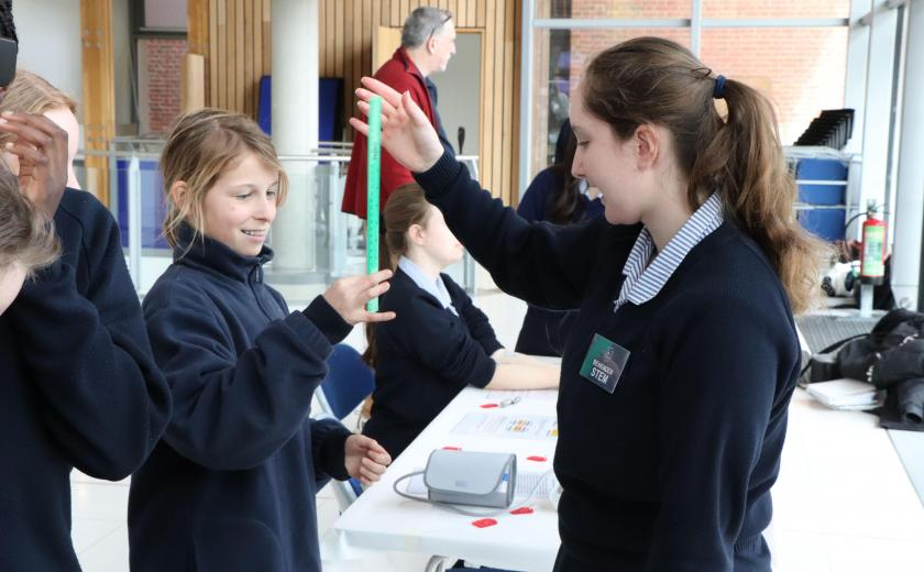 Benenden's STEM Ambassadors of older girls help to educate the younger girls